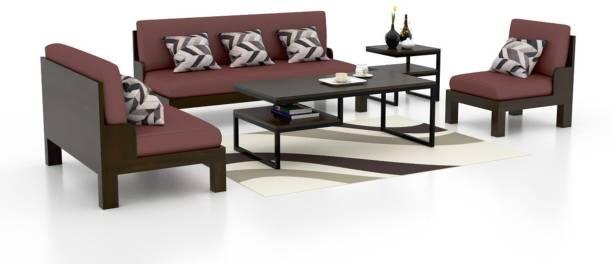 Funterior Leatherette 3 2 1 Natural Sofa Set