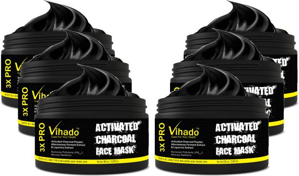 Vihado Charcoal Bamboo Charcoal Oil Control Anti-Acne Deep Cleansing Blackhead Remover, Peel Off Mask (100 g) (Pack of 6)