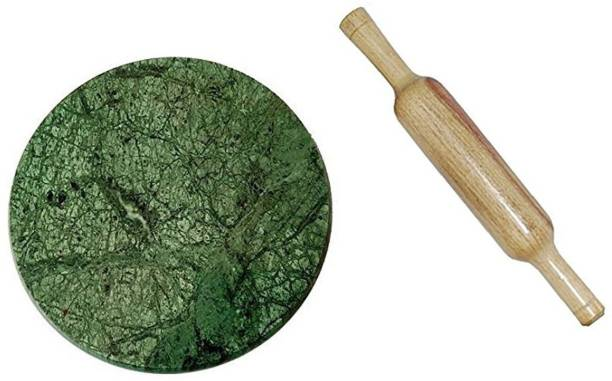 Aadinath Collection Green Marble Chakla Belan Rolling Pin & Board