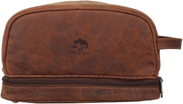0249f8a35e97 Rustic Town Genuine Leather Travel Cosmetic Bag - Hygiene Organizer Dopp  Kit Travel Shaving Bag