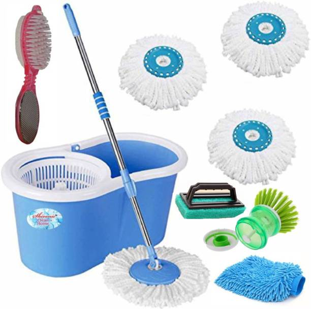 Shivonic ® Magic Dry Bucket Mop With 3 Refill And 1 Tile Brush 1 Washbasin Brush