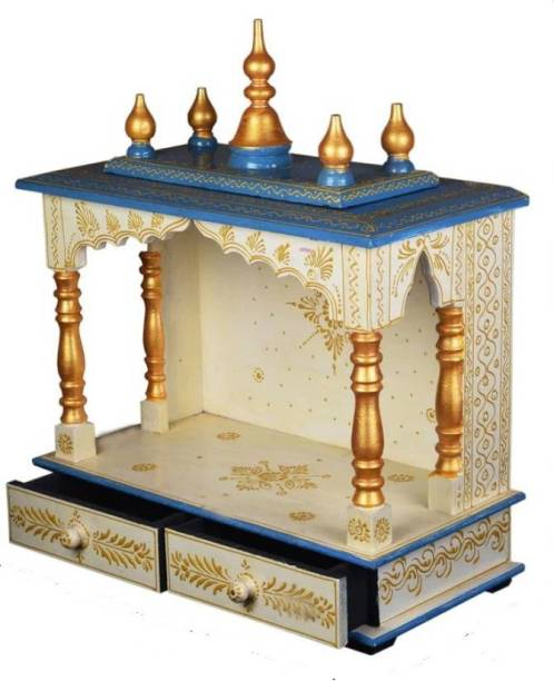 Marusthalee Wooden Temple for Home Blue & White Solid Wood Home Temple