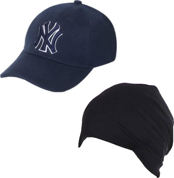 d3217a93168 Drunken Men s Cotton And Spandex Stylish Adjustable Freesize Cap Color  (Blue-Black) Cap