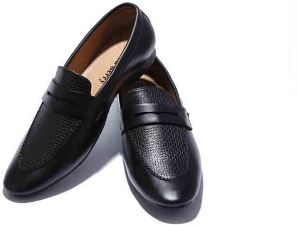 368670cf37597 Hush Berry Genuine Leather Classic Style Loafer Shoes Party Wear For Men