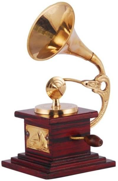 AapnoCrafts Sparkle Square Glossy Brass Gramophone Decorative Showpiece  -  17 cm
