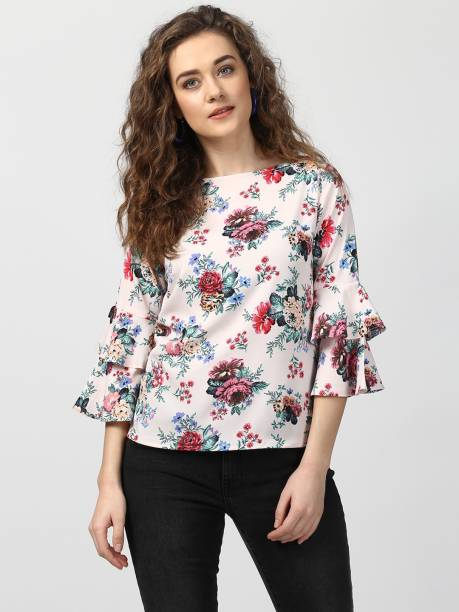 e522379555f Harpa Casual Ruffled Sleeve Floral Print Women s Multicolor Top