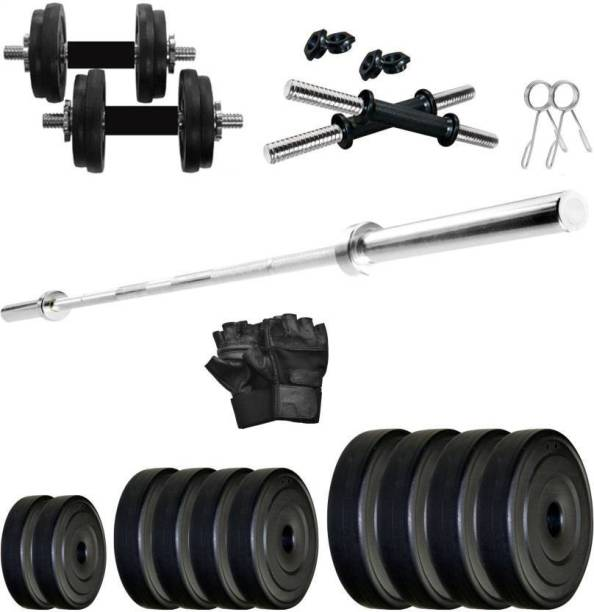 Keyways BEST QUALITY HOME GYM COMBO 2 KG 4 PLATES + 2 DUMBBELL ROD + 3 FEET STRAIGHT BAR + 2 LOCKS +GYM GLOVES HOME GYM KIT Adjustable Dumbbell
