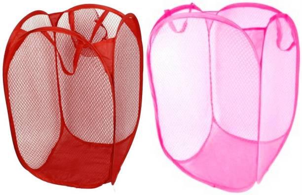 LooMantha 20 Red Pink Laundry Basket Bag Stool Storage