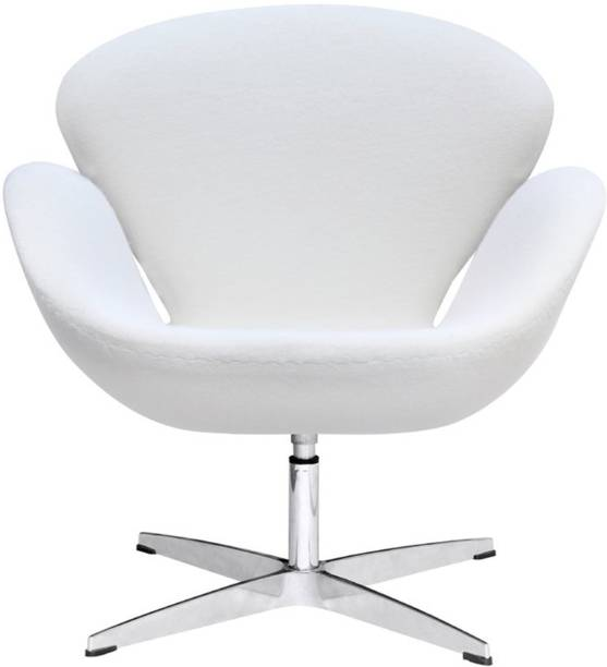 Lakdi White Cushioned Lounger Armchair Chrome Legs - Ideal for Home, Office and Outdoor Fabric Lounger