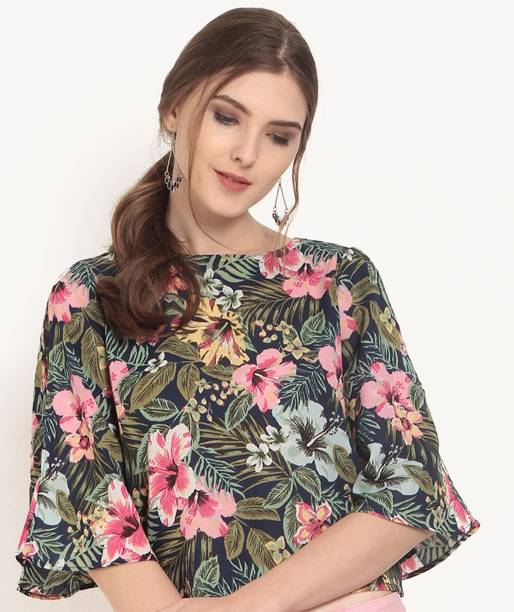 4aa6a13626ca Rare Casual Cape Sleeve Floral Print Women's Dark Blue, Green Top