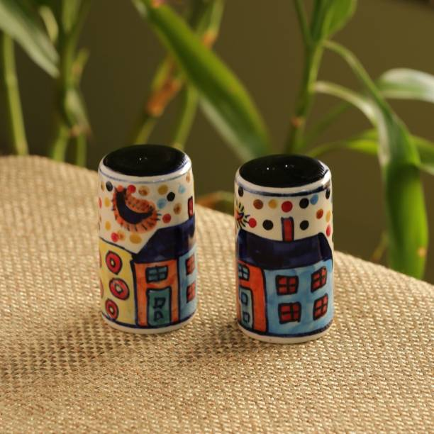 ExclusiveLane Hut Hand-painted Dining Table top Spice Dispenser Seasoning Shaker Cum 2 Piece Salt & Pepper Set