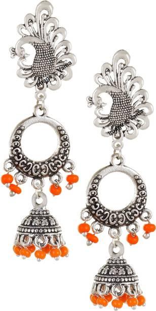 ae642cd47 VAMA FASHIONS Oxidized German Silver Apricot Orange Chandbali Jhumkis Hook  Earring Crystal German Silver Jhumki Earring