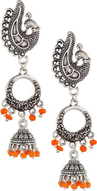 8a3dcfff6 VAMA FASHIONS Vintage Antique Apricot Orange Silver Peacock Stud Chandbali  Jhumka Crystal German Silver Jhumki Earring