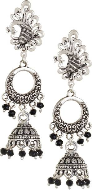 2fa1688c4 VAMA FASHIONS Oxidized German Silver Charcoal Black Chandbali Jhumkis Hook  Earring Crystal German Silver Jhumki Earring
