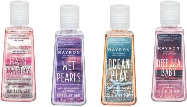 Rayron Combo Set of Hand Sanitizer Set of 4-30ml Rain Candy30ml + Wet Pearls30ml