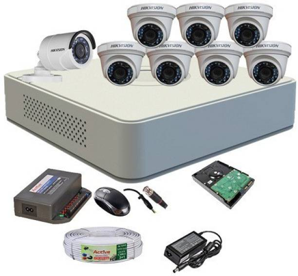 Hik Vision HIKVISION DVR DS-7A08HGHI-F1/N OR DS-7A08HGHI-F1/ECO 1PCS DOME CAMERA DS-2CE5ACOT-IRP OR DS-2CE5ACOT-IRP/ECO 07PCS AND BULLET CAMERA DS-2CE1ACOT-IRP OR DS-1ACOT-IRP/ECO 1PCS 90 METAR CABLE 1TD SATA HDD COMBO KIT Security Camera