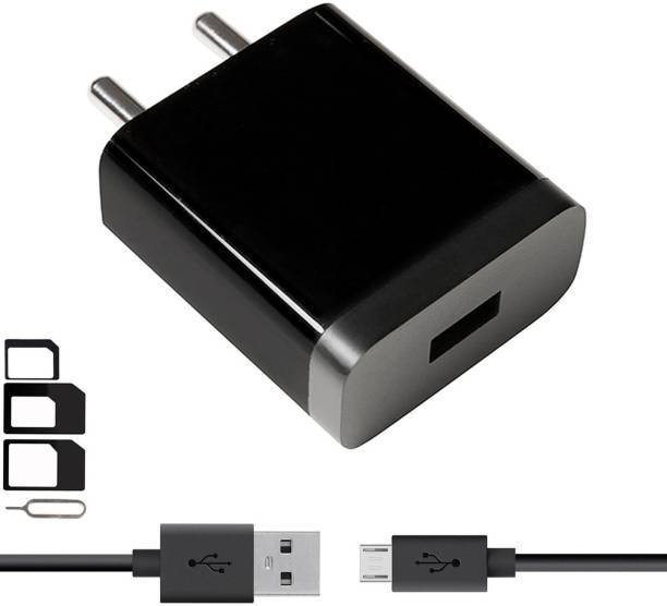 UrCart Wall Charger Accessory Combo for Videocon Infinium Z45 Dazzle, Graphite V45DB, Z55 Dash, Octa Core Z55 Delite, Z45 Amaze, Infinium Z51 Punch, Infinium Z52 Inspire, Z30 Pace, Infinium Z30 Aire, Infinium Z40 Quad, Infinium Z51 Nova Plus, Thunder Plus 2 V50DC, A48 Charger With 1 Meter Micro USB Charging Data Cable And SIM Adapter