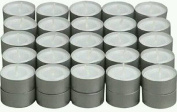 Madhulica Candles MEGHASHILO SMOKELESS PLAIN WHITE TEA LIGHT CANDLES PACK OF 100 Candle