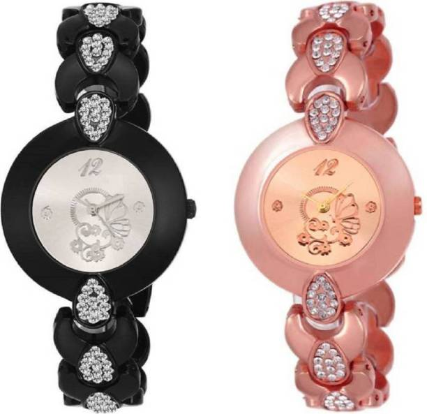 b24e0ece35d Lifetime latest attractive design combo of two rosegold   black metal belt  girl s wrist watch for
