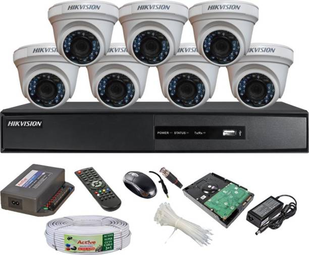 Hik Vision HIKVISION DVR DS-7B08HQHI-K1 OR DS-7204HQHI-K1 1PCS DOME CAMERA DS-2CE5ADOT-IRP OR DS-2CE5ADOT -IRP/ECO 07PCS 90 METAR CABLE 1TB SATA HDD COMBO KIT Security Camera