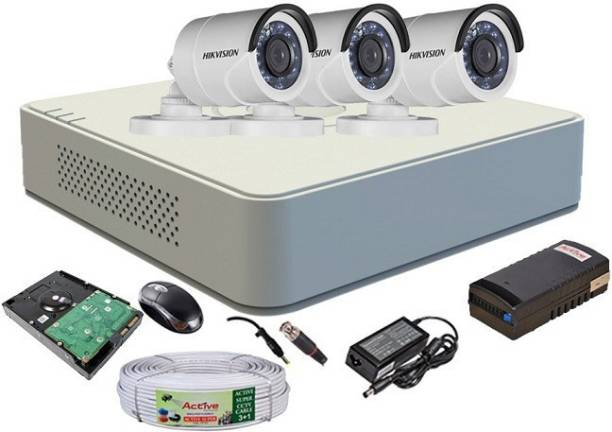 Hik Vision HIKVISION 4CH DVR DS-7A04HGHI-F1/N OR DS-7A04HGHI-F1/ECO 1PCS AND BULLET CAMERA DS-2CE1ACOT-IRP OR DS-2CE1ACOT-IRP/ECO 03PCS 90METAR CABLE AND 1TD SATA HDD COMBO KIT Security Camera