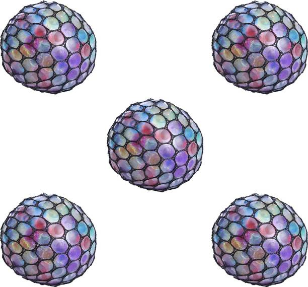 PARTY PROPZ Grape Ball Stress Relief Squeeze Hand Wrist Toy Balls - Set of 5 Multicolor Putty Toy