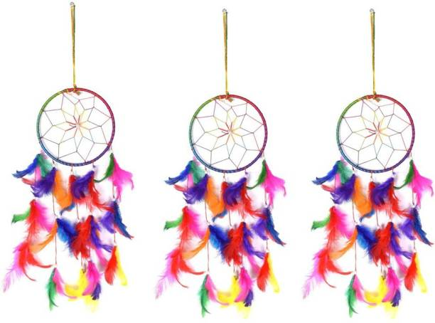 Ryme Multi Color Dream Catcher Wall Hanging (Pack Of 3) Wool Dream Catcher