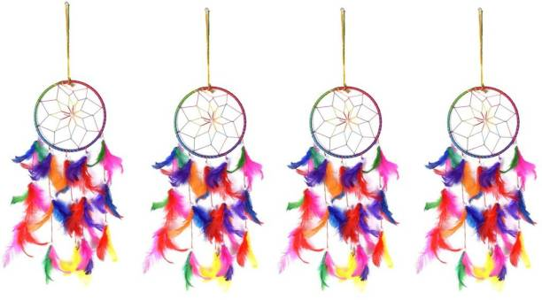 Ryme Multi Color Dream Catcher Wall Hanging (Pack O f 4 ) Wool Dream Catcher