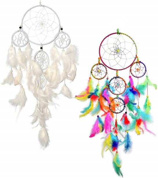 Ryme Combo Of Multi color And White Dream Catcher 5 Rings Wool Dream Catcher