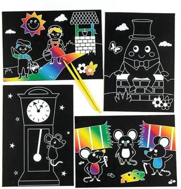 2034948f150 Baker Ross Nursery Rhyme Scratch Art Scenes for Kids to Make - Children  Craft Set (
