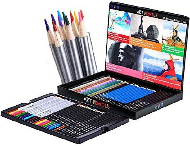 Generic HB Art Supplies 60 Pcs Professional Art Pencils Set Sketching and Drawing Artist Colored Pencils