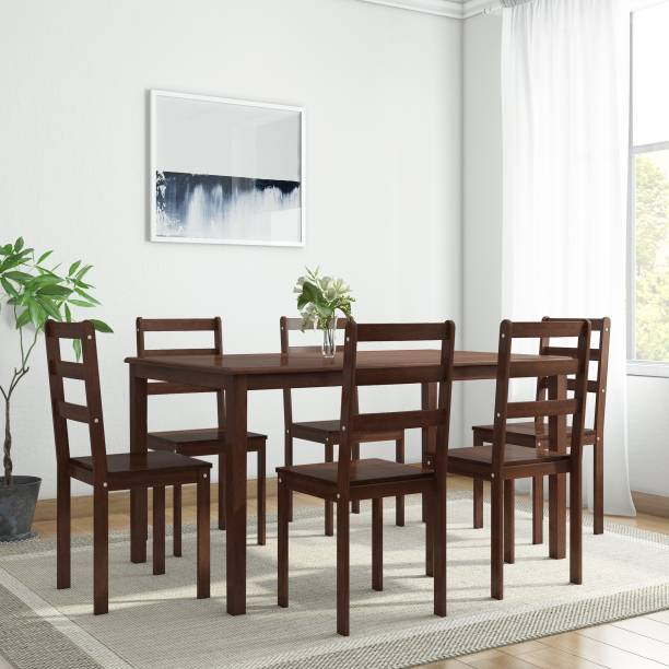 WOODNESS Winston Solid Wood 6 Seater Dining Set
