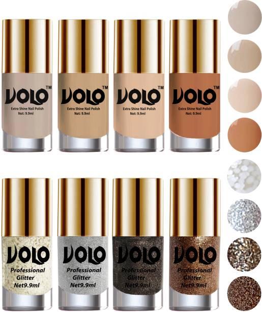 Volo Long Lasting Glitter and HD Shine Nail Polish Combo Sets Combo-No-28 White Nail art And Glitter, Silver Glitter, Dark Grey Glitter, Light Golden Glitter, Nude Tude