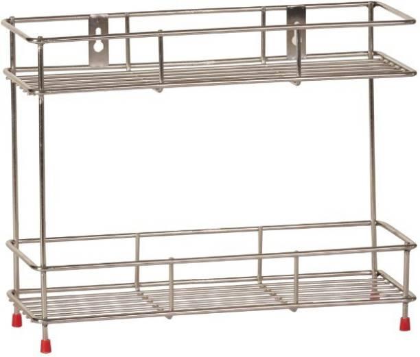 Omic Mirror Finish Stainless Steel Wall Mounted Multipurpose 2-Tier Storage Shelf, Stainless Steel Wall Shelf