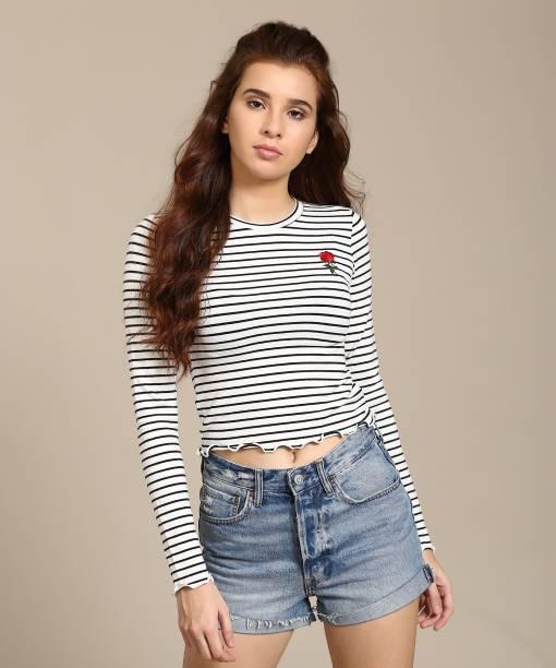 44ec708e1bb Forever 21 Casual Full Sleeve Striped Women s White Top