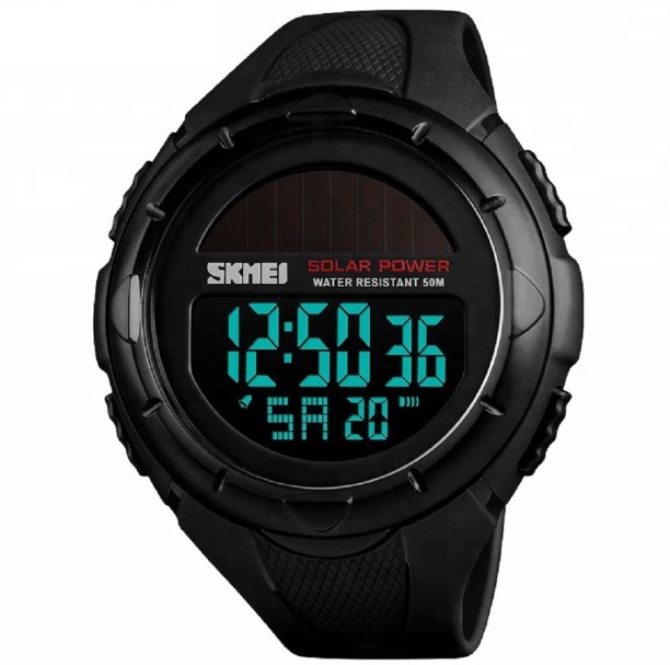 re0405m multifunctional waterproof solar powered sports watch with black pu band plastic case black