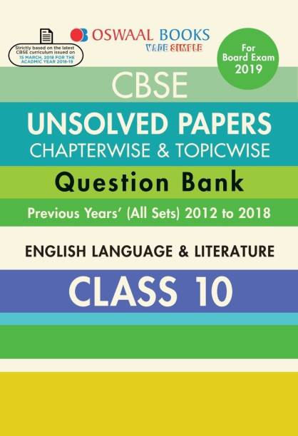 Oswaal CBSE Chapter wise Unsolved Papers Class 10 English Lang & Lite (For 2019 Exam)