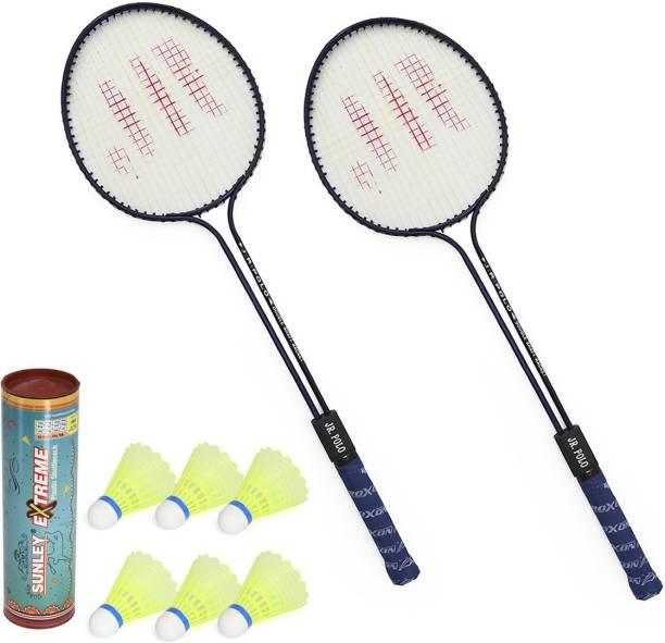 ROXON Polo Badminton Set Of 2 Piece Racquet with 6 Piece Sunley Extreme Plastic Shuttle Badminton Kit