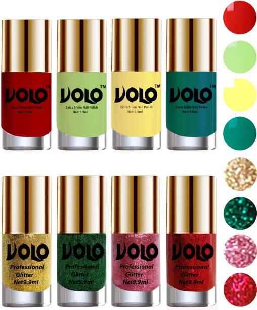Volo Long Lasting Glitter and HD Shine Nail Polish Combo Sets Combo-No-48 Dark Green Glitter, Pink Glitter, Golden Glitter, Reddish Orange, Yellow, Radium Green, Red Glitter, Parrot Green
