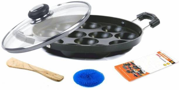 Orange NON-STICK APPAM/ PANIYARAKKAL WITH 12 PITS/CAVITY/BOWLS, SIDE HANDLE (ALUMINIUM DIA-CAST) (APPAM WITH GLASS LID)WITH FREE WOODEN SPATULA & SCRUBBER Paniarakkal with Lid