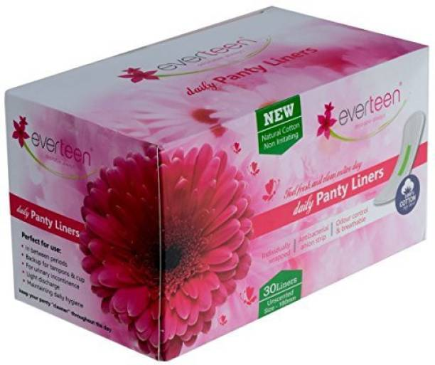 everteen 100% Natural Cotton Daily Panty Liners Pantyliner (Box of 30pcs) Pantyliner