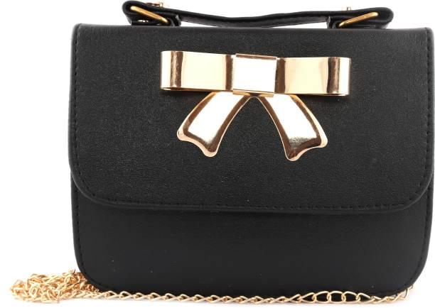 T Square Women Casual Black Rexine Sling Bag