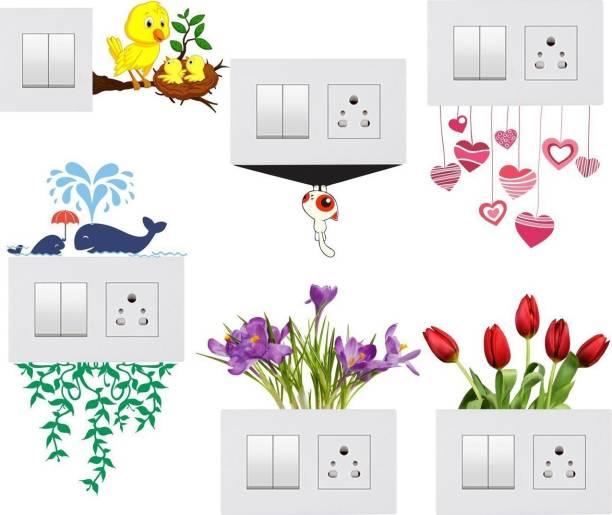 Pixel Print Medium Wall Sticker, Wall Art , Fridge Sticker (Light Switches 'Flowers' Sticker) Set Of 6