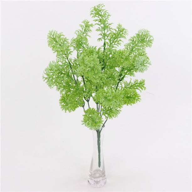 FOURWALLS Artificial Decoration Grass Moss Plastic Plants, Set of 3, White Artificial Plant