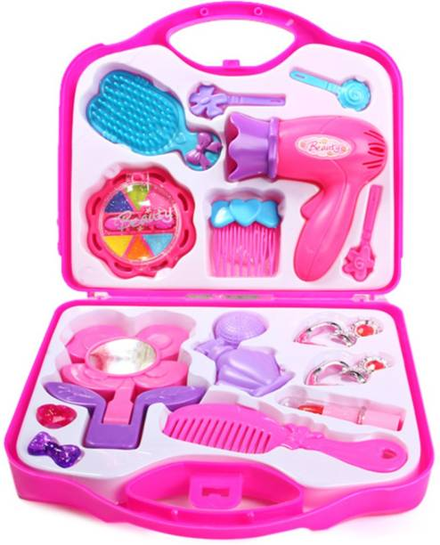 6ec548df7 FTAFAT Fashion Girl Beauty Set Makeup Toy with Mirror Hairdryer & Styling  Accessories, Girl Toys