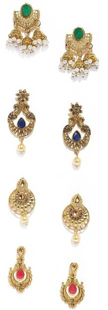 Zaveri Pearls Combo Of 4 Zinc Drop Earring