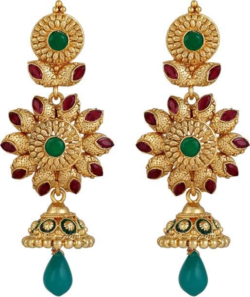 b6c42740fe Sukai Jewels Red Ruby Traditional Floral Cubic Zirconia Zinc Drop Earring
