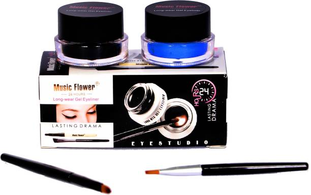 Music Flower Long Wear Gel Eye Liner(Black,Blue) 3 g