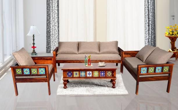 Balaji Fabric 3 2 1 Honey Oak Sofa Set