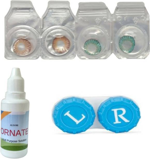 43c0f89c7d ORNATE Brown   Turquoise Colored Contact Lens 2 Pair with case and solution  (0 Power